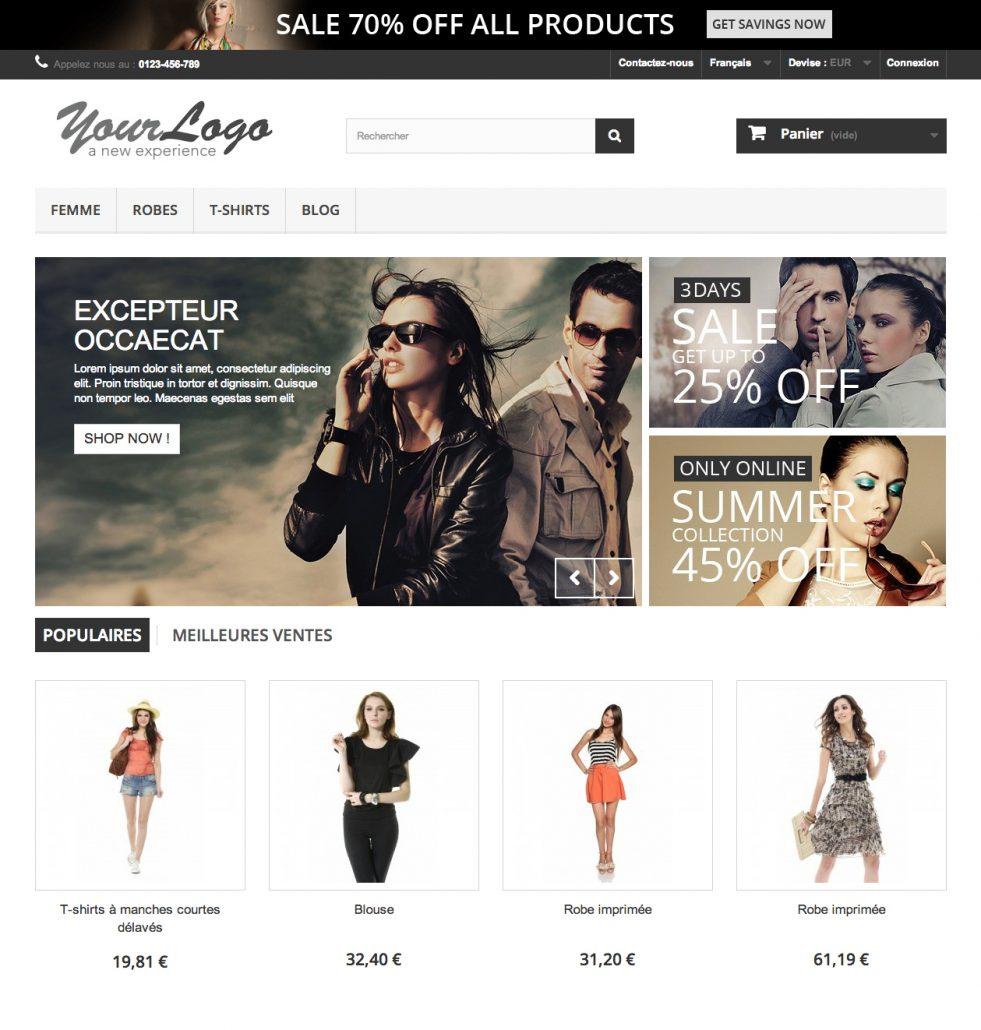 PrestaShop Front Office thème de base