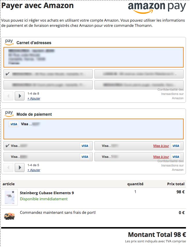 amazon pay choix mode de paiement, lieu de livraison et compte utilisateur