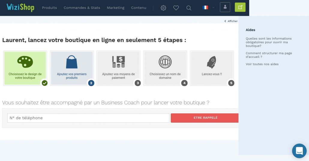 Wizishop console d'administration